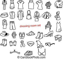 illustration vector doodles hand drawn objects in dressing...