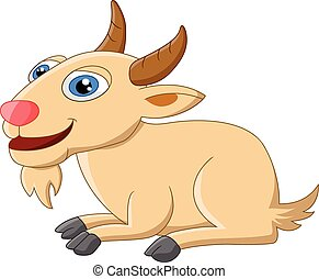 Cute goat cartoon posing - Vector illustration of Cute goat...