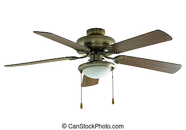 ceiling fan isolated on white with clipping path
