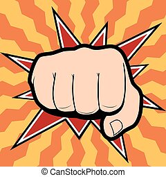 Vector of punching hand with a clenched fist aimed directly at the viewer  isolated on colored background