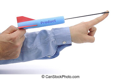 Product launch - illustrated by shooting a foam arrow