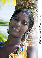 native pretty young woman nicaragua - smiling native...