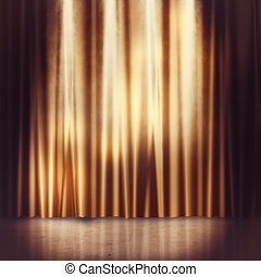 Stage background - Background of golden curtains of a stage