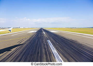 rubber parts at the runway at Charles de Gaulle