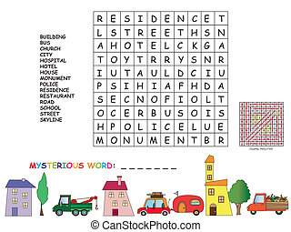 game for children : find all words horizontal, vertical and...