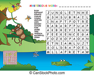 game for children : find all words (horizontal, vertical and...