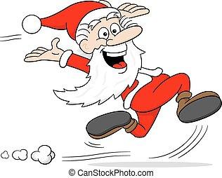 santa claus is running - vector illustration of a cartoon...