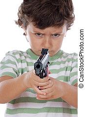 Junge, Hände, seine, Pistole, Eins