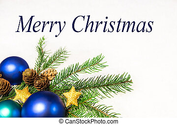 christmas card with blue balls and snowy background, merry...