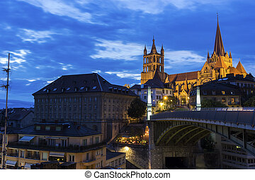 Lausanne Cathedral in Switzerland - View on Lausanne...