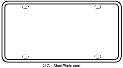 Blank License Plate Border - A blank licence plate over a...