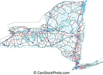 New York Interstate Road Map - New York State Interstate, US...