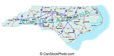 North Carolina State Interstate Map - North Carolina state...