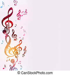 Bright Multicolor Music Notes - abstract bright background...