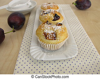 Friands with plums