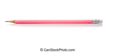 Pink Pencil isolated on white background - Pink Pencil with...