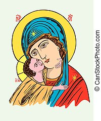 Virgin Mary and Little Christ, art vector design