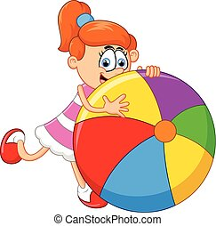 Cartoon little girl holding ball - vector illustration of...