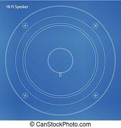 Hi Fi Speaker Cone Blueprint - Blueprint of a speaker cone...