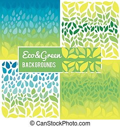 Ecological, green, eco set with patterns and backgrounds.