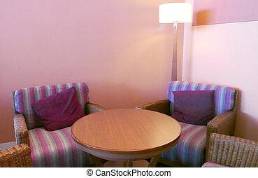 Restaurant indoor furnitures with floor lamp
