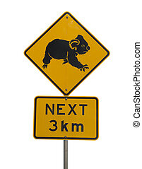 Watch out for koalas in next 3 km roadsign - Warning sign...