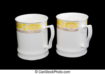Two white cups on a black background - Two white...