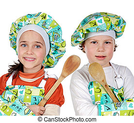 Children learning to cook - Children learning to cook a over...