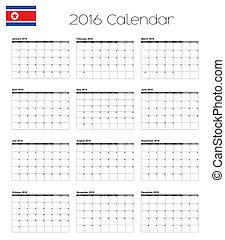 2016 Calendar with the Flag of North Korea - A 2016 Calendar...