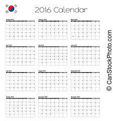 2016 Calendar with the Flag of South Korea - A 2016 Calendar...