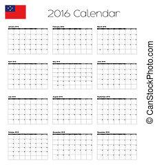 2016, calendario, con, il, bandiera, di, Occidentale, Samoa,...