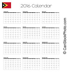 2016 Calendar with the Flag of East Timor - A 2016 Calendar...