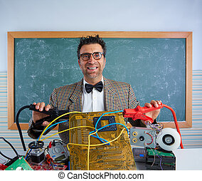 Nerd electronics technician retro silly expression - Nerd...