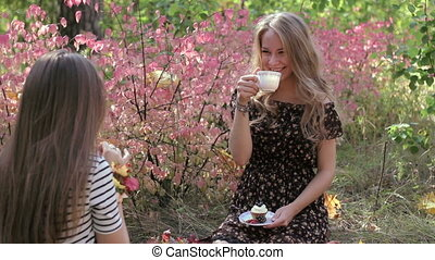 Young women drink tea and talking with girlfriend