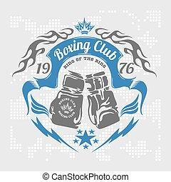 Boxing emblem. Vector stock. - Boxing emblem in light...