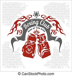 Boxing emblem. Vector stock. - Boxing emblem in light...