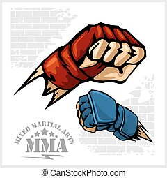 Fist punch - MMA mixed martial arts emblem badges. Vector...
