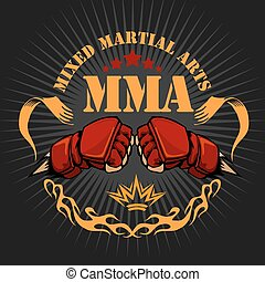 MMA mixed martial arts emblem badges Vector emblem