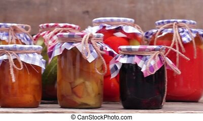 Home canned in glass jars. - Organic food. Home canned in...