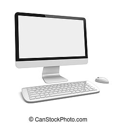 Desktop pc computer with large wide monitor, keyboard and...
