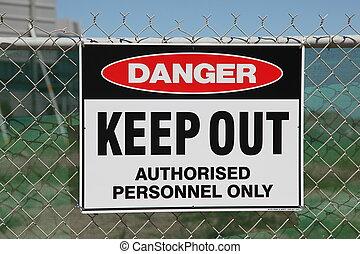ワイヤー, フェンス, 鎖, 危険, たくわえ, 印, から