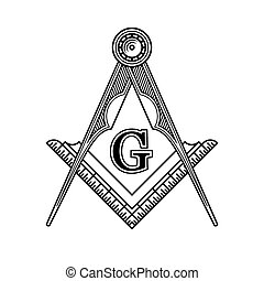 Masonic Freemasonry Emblem Icon Logo Vector illustration