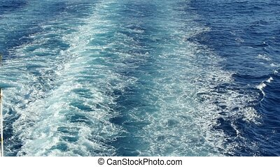 Sea Trail From the Stern of Cruise - View of the waves from...