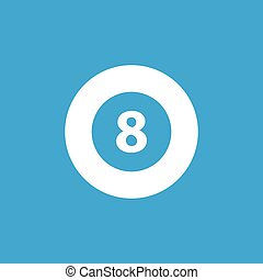 Eightball icon, simple white image isolated on blue...