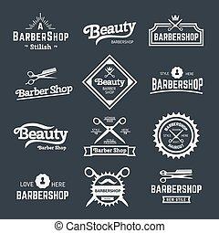 Barbershop - Vector set of retro barber shop labels, logo,...