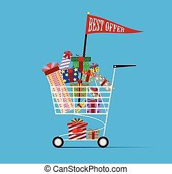 Shopping cart full of shopping bags