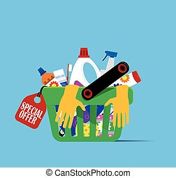 Basket with hygiene items and household cleaning products...