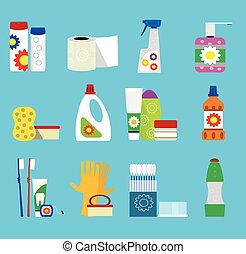 Vector hygiene and cleaning products icons. - Hygiene and...