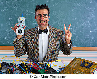 Nerd electronics technician silly winner gesture - Nerd...