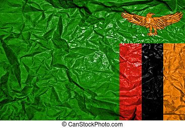 Zambia vintage flag on old crumpled paper background